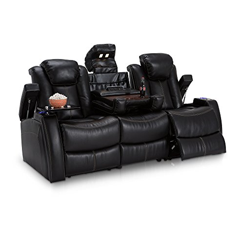 Seatcraft Omega Leather Gel Home Theater Seating Power Recline Multimedia Sofa with Adjustable Powered Headrests and Fold-Down Table, Black