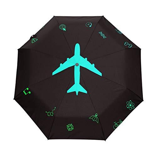 Orediy Automatischer, faltbarer Regenschirm im Flugzeug-Design, winddicht, kompakt, tragbar, für Sonne, Regen, UV-beständiger Regenschirm