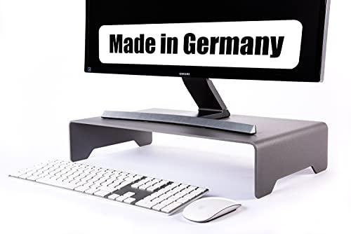 ECHTSTAHL Monitorständer Metall Aluminiumgrau, Bildschirmständer und Laptopständer für gesundes ergonomisches Arbeiten im Büro/Home Office. Made in Germany. Schreibtischerhöhung & Monitor Stand.