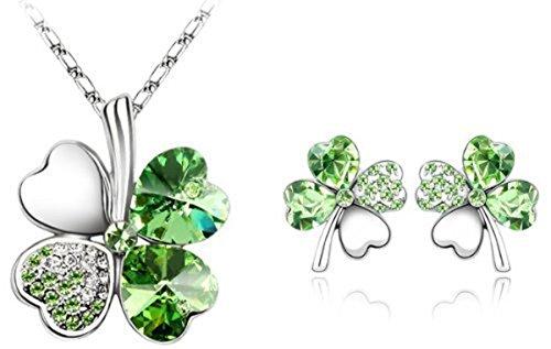 Viki Lynn Set di 3 pezzi, collana e orecchini con pendente a quadrifoglio con cristalli austriaci e Lega, colore: gruen, cod. JPFN000568-JPFD001054J