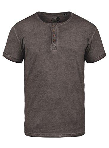 !Solid Tihn Herren T-Shirt Kurzarm Shirt Mit Grandad-Ausschnitt Aus 100% Baumwolle, Größe:L, Farbe:Coffee Bean (5973)