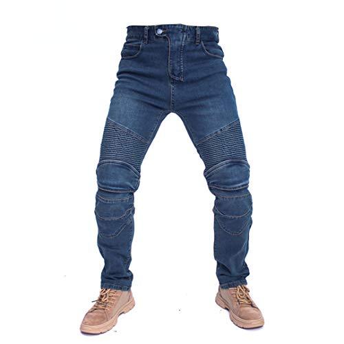 Taiernafi - Pantalones vaqueros para moto, para hombre, para el tiempo libre, para verano, con protección Gears no Gear Blue XXXL