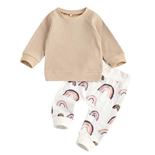 Geagodelia Kleidung für Jungen, bedruckt, Cartoon-Motiv, Langarm-Sweatshirt + Jogginghose, 2-teiliges Outfit, Baby Sportanzug für Kleinkinder Gr. 12-18 Monate, kaki