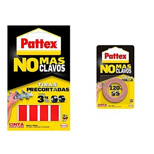 Pattex Cinta De Doble Cara A Tiras No Más Clavos + No Más Clavos Cinta, Cinta Adhesiva Para Aplicaciones Permanentes
