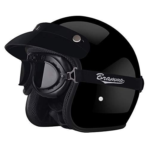 KIWG Motorbike helm, Retro piloot helm, anti-botsing zonnefiets helm, unisex open motorhelm, geschikt voor scooters, scooters, F2