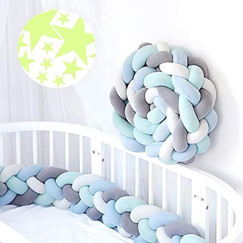 ACTENLY 220cm Baby 4 Weben Babybett Bettumrandung Nestchen Stoßstang Kantenschutz Kopfschutz für Kinderbett Bettumfang (Weiß+Grau+Blau+Grün & 50 Stück Leuchtende Sterne Wandtattoo)