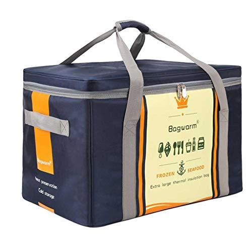 XINGDONG Bolsa de aislamiento de papel de aluminio extra grande de 70 litros para mariscos, nevera impermeable y frescura, bolsa de hielo portátil para llevar, bolsa de picnic duradera (color: azul)