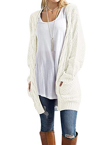 GRECERELLE Women's Loose Open Front Long Sleeve Solid Color Knit Cardigans Sweater Blouses with Packets White-Small