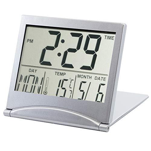 TRIXES Silberner Wecker mit digitaler LCD-Anzeige, Temperatur und Weckfunktion