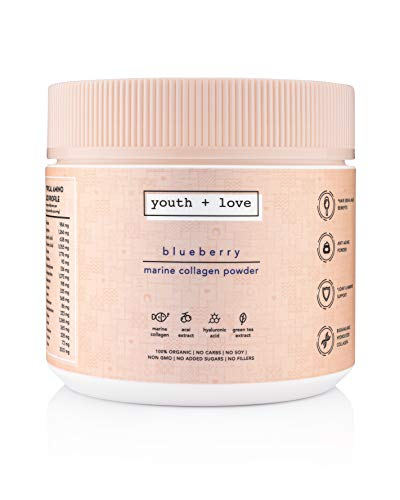 Youth + Love Blueberry Marine Collagen Powder - 100% Organic Hydrolyzed Collagen - Best Collagen Powder for Anti Aging, Hair Skin Nails and Joint Support - Collagen with Hyaluronic Acid