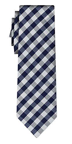 Cravate soie tartan pattern navy silver