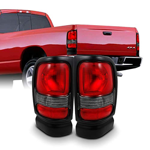 For Dodge Ram 1500/2500/3500 Pickup Truck Red Clear Tail Lights Brake Lamp Replacement Pair Left + Right