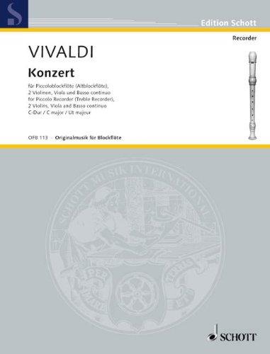 CONCERTO C-DUR RV 443 - arrangiert für Piccoloflöte (Piccolo) - (Altblockflöte) - Klavier [Noten / Sheetmusic] Komponist: VIVALDI ANTONIO aus der Reihe: ORIGINALMUSIK FUER BLOCKFLOETE
