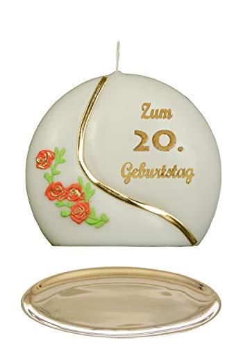E selectie * jubileumkaars/verjaardagskaars ''Voor de 20e verjaardag'' * oranje * met gekleurde wax kussens * incl. Kandelaar gemaakt van messing * ('Diskus 001') selectie motief + kleur