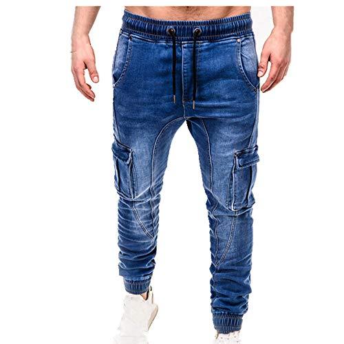 N\P Otoño Invierno De Los Hombres Multi-Bolsillo Jeans De Negocios De Los Hombres Jeans Negro