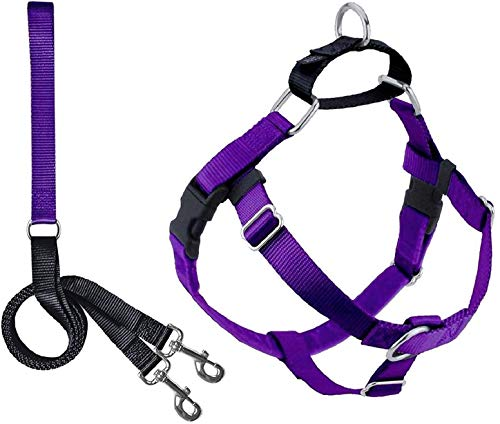 2 Hounds Design Freedom No Pull Dog Harness | Adjustable Gentle Comfortable Control for Easy Dog Walking |for Small Medium and Large Dogs | Made in USA | Leash Included | 5/8' SM Purple