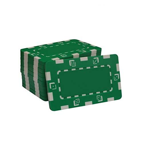 TX GIRL 10Pcs / Set ABS-Platz Poker Chips Casino Poker Chips Rechteckige Chip Anti-Fälschungs-Chip-Münze Poker Chips (Color : Green)