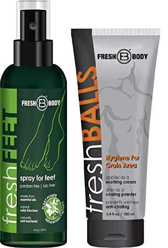 FRESH FEET and FRESH BALLS Combo! 4 oz Natural Anti-Bacterial Odor Fighting Spray w/Essential Oils Paired with Fresh Balls 3.4 oz Men's Antiperspirant! (BOTH By Creator of Fresh Balls)