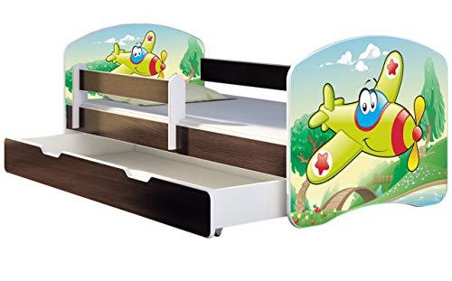 ACMA Kinderbett Jugendbett mit Einer Schublade und Matratze Wenge mit Rausfallschutz Lattenrost II 140x70 160x80 180x80 (29 Flugzeug, 140x70 + Bettkasten)