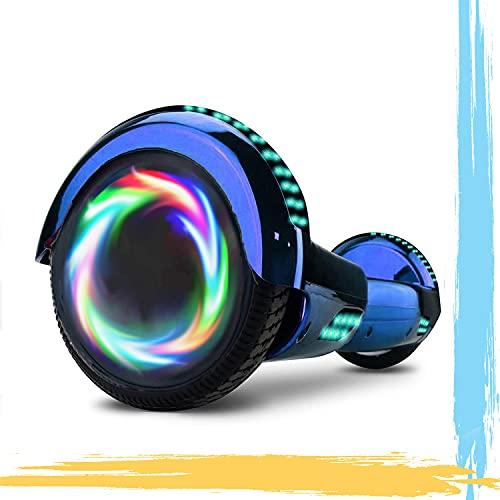 """MJK Hoverboard - 6,5"""" - Bluetooth - LED - Self Balancing Board Adulte - 700W - Smart Scooter Deux Roues - Skate Électrique Cadeaux Pas Cher-Adulte et Enfant-Bleu Chrome"""