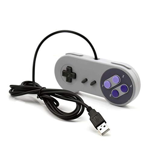 Aiyoudemutou Gamepad Controlador con Cable Botón Juego de computadora Asistido Manija con Cable Joystick Controlador Super clásico Controlador Gamepad (Color : Purple Button)