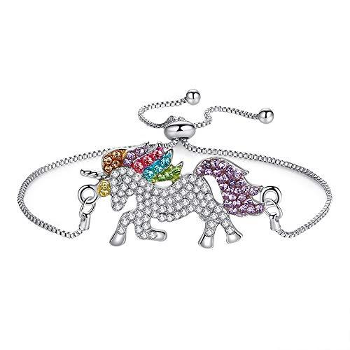 NIMUIL Damen 925 Sterling Silber Armband Mädchen Glücklich Einhorn Verstellbar Zirkonia Armkette mit Schön Geschenkbox Verpackung