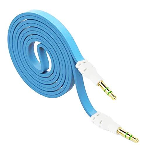IPOTCH Cable de Audio Estéreo para Automóvil, Cable para TV, Computadora, Teléfono, MP3, MP4, Conector de 3,5 Mm - Azul