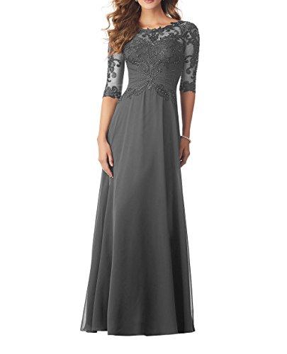 Royaldress Elegant Brautkleid Standesamt Kleid f¨¹r Brautmutter Abendkleider Ballkleider Langarm Mit Pailletten-38 Grau
