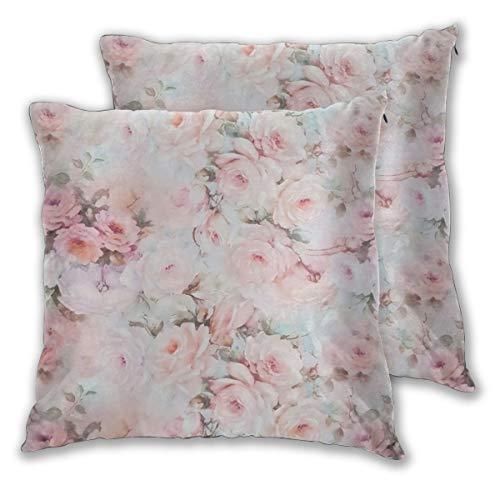Juego de 2 fundas de cojín vintage romántico rubor rosa verde azulado bohemio flores fundas de almohada decorativas cuadradas fundas de almohada fundas de recámara sala de estar Car18 x 18 pulgadas