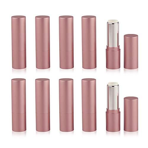 XGzhsa Lippenstift leere Tube, Lippenbalsam Flaschen, 10 Stück Kunststoff rosa leere Lippenstift Tuben 3,5 g nachfüllbare Lippenbalsam Tuben für Frauen Mädchen DIY Geschenk