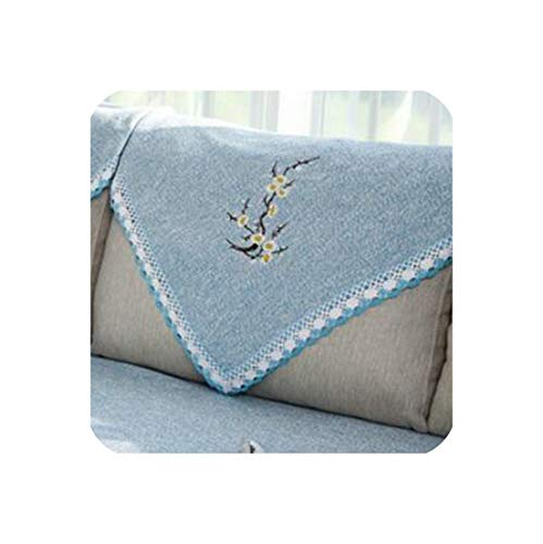 Solid Color Sofa Towel Couch Cover Embroidery Sofa Cushion Sofa Bed Cover Modern Living Room Sofa Cover Pillow,F,90x160cm