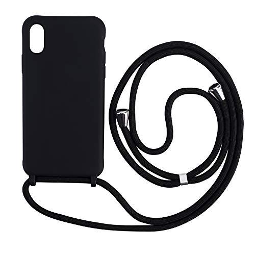 xingting EU Funda con Cuerda Compatible con iPhone 6 7 8Plus(5.5inch) Ajustable Collar Correa de Cuello Cordón Carcasa de Silicona Skin Caso TPU Suave Silicona-Negro
