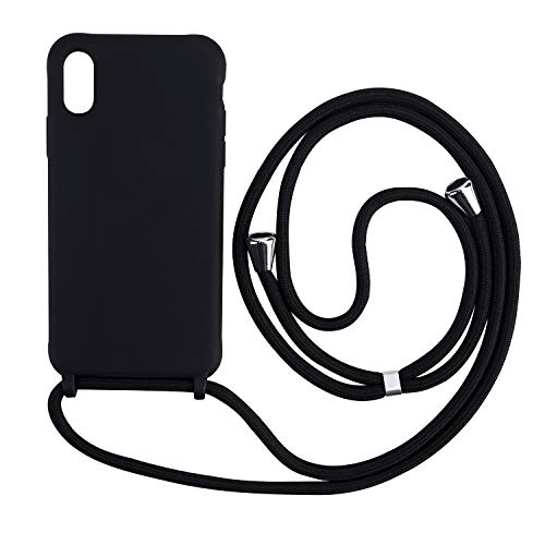 Ququcheng Funda Compatible con iPhone 7 Plus/8 Plus,Ajustable Collar Correa de Cuello Cordón Cuerda Carcasa TPU Bumper Silicona Skin Caso para iPhone 7 Plus/8 Plus-Negro