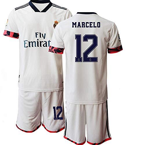 QIUYUAN 20/21 Kinder Marcelo 12# Fußball-Trikot Kurzarm Anzug -Weiß (26)
