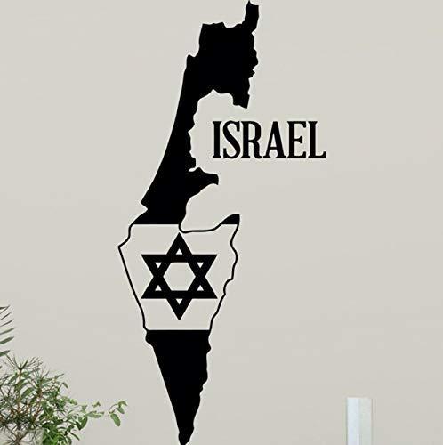 Israel kaart Star of David muurtattoo Jüdischer ster wooncultuur muursticker judentum design muurkunst teeen boy kamer wanddecoratie 42 * 90cm