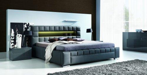 Design Luxus Lounge Polsterbett Doppelbett Futon-Bett Leder Schwarz SL09 NEU!