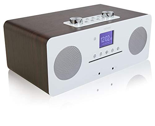Denver MIR-260 CD Player, Digital DAB+ & WiFi Internet Radio - With FM Radio, Bluetooth 5.0, AUX IN, 2.4 inch colour screen & Remote Control - Walnut With White High Gloss Fascia