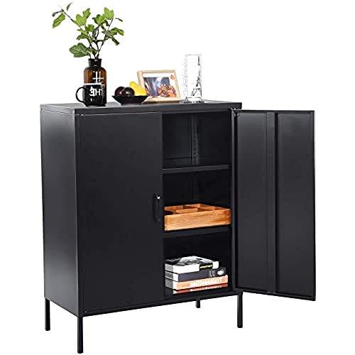 MEUBLE COSY Sideboard Kleiderschrank Wohnzimmer Aufbewahrungsschränke Garderobenschränke Metall Schrank mit Regal Ablage und Tür, Schwarz, 80x40x101.5cm
