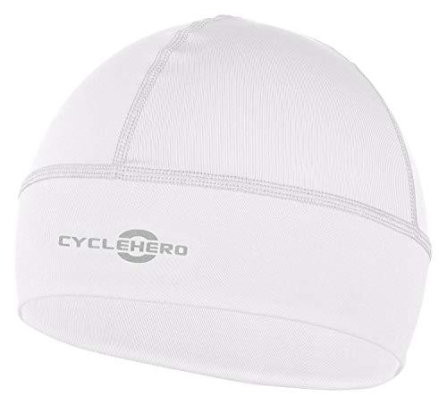 CYCLEHERO Helmmütze Winddicht (weiß, L-XXL) - wasserdichte Herren und Damen Fahrrad Mütze für unter den Fahrradhelm