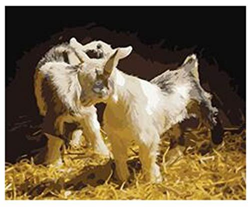 Niño Adulto Pintura Por Números Kits Cabra Familia Set Para Dibujar Por Números Arte Animal Fotos Para Sala De Estar Decoración Del Hogar Sin Marco
