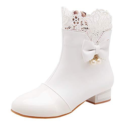 MISSUIT Damen Flache Ankle Boots mit Spitze und Schleife Stiefeletten Rockabilly Kurzschaft Stiefel Reißverschluss(Weiß,40)