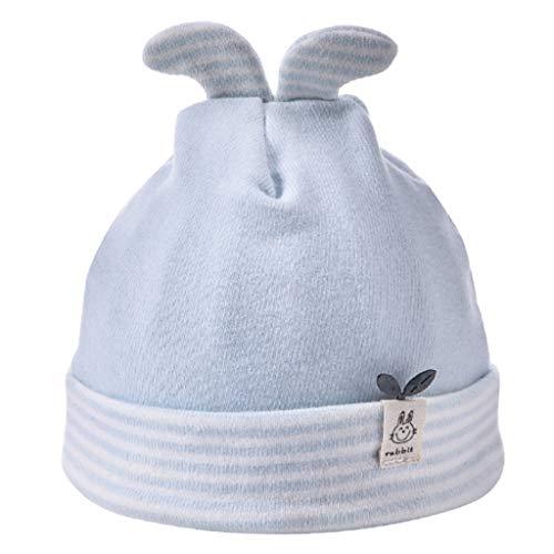 Youliy, cappello in cotone per neonato, con orecchie di coniglio, con risvolto, in cotone, a righe, con stampa a costine, per neonati e bambini, 0-6 m