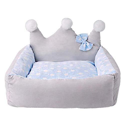 CLIN Hundebett Kronenform mit Schleife Winterhund Nest süße Mode Teddy Hund kleines Haustier Bett 50 * 45 * 25 cm Blau 50 45 25 cm
