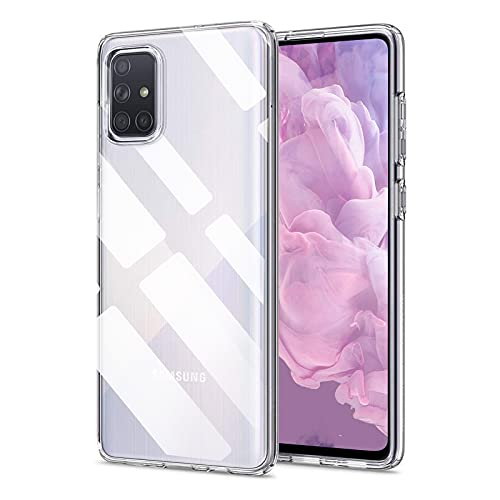 Whew Crystal Clear Samsung Galaxy A71 Hülle, [Transparent Anti-Gelb] Hard PC und Soft Silikon Ultra Hybrid Samsung Galaxy A71 Handyhülle Durchsichtig Silikon Schutzhülle Slim Hülle