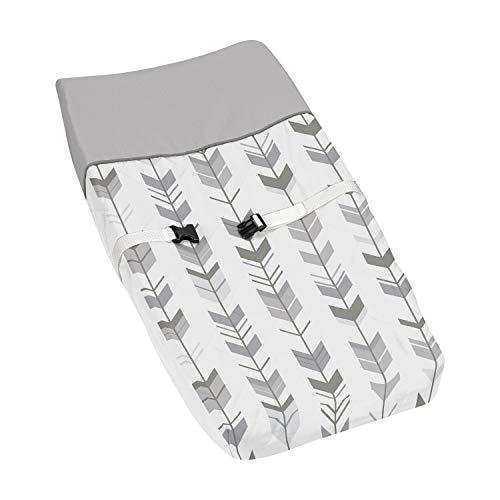 Grey and White Changing Pad Cover for Woodland Arrow Collection by Sweet Jojo Designs