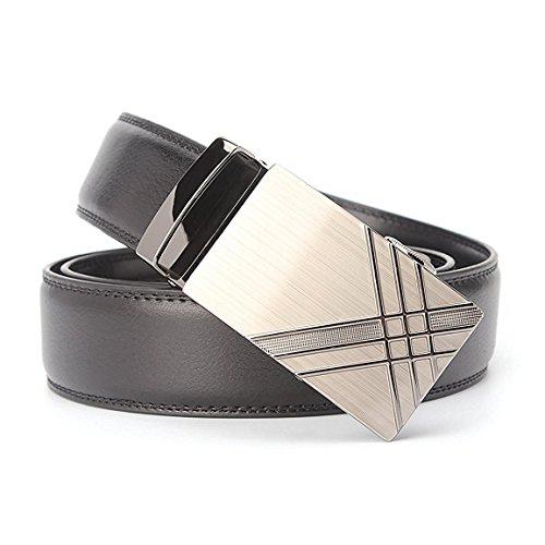 Echtes Leder Gürtel für Männer Ratsche Automatik Gürtelschnalle (Gleitschnalle) 35mm breit (Schwarz C)