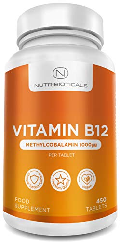 Vitamin B12 Methylcobalamin 1000mcg 450 Tablets (15 Month Supply) | Reduction of Tiredness and Fatigue & Normal Function of The Immune System