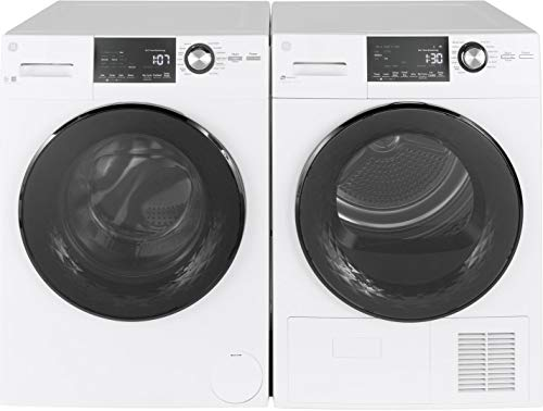 GE Front load Compact GFW148SSMWW 24'' Washer with GFT14ESSMWW 24'' Electric Dryer Laundry Pair in White