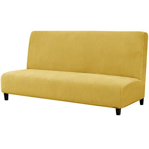 subrtex Sofabezug ohne Armlehnen Stretch Abdeckung Husse für Sofabett Sofaüberzug Armless Antirutsch (Senfgelb)