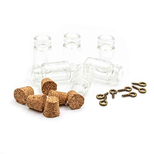 Vintageparts Kleine befüllbare Glasflaschen mit Korken und Öse 10 Stück Schmuck Schmuck selber Machen